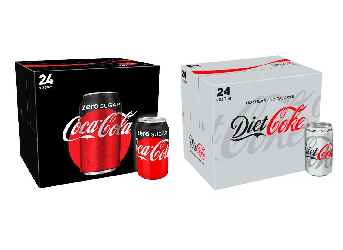 Coke Zero or Diet Coke (330ml) x 24 cans for £6.50 @ Tesco (Now Live)