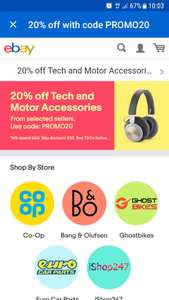 20% off Tech inc TV's & Motor accessories from selected sellers - £40 minimum spend on ebay