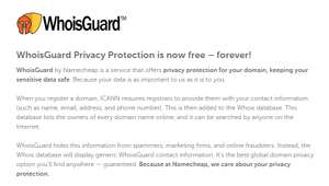 Free WhoisGuard from Namecheap FOREVER