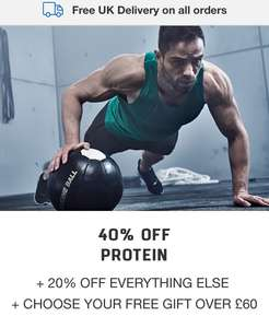 All MyProtein branded protein are 40% OFF + FREE GIFT over £60!