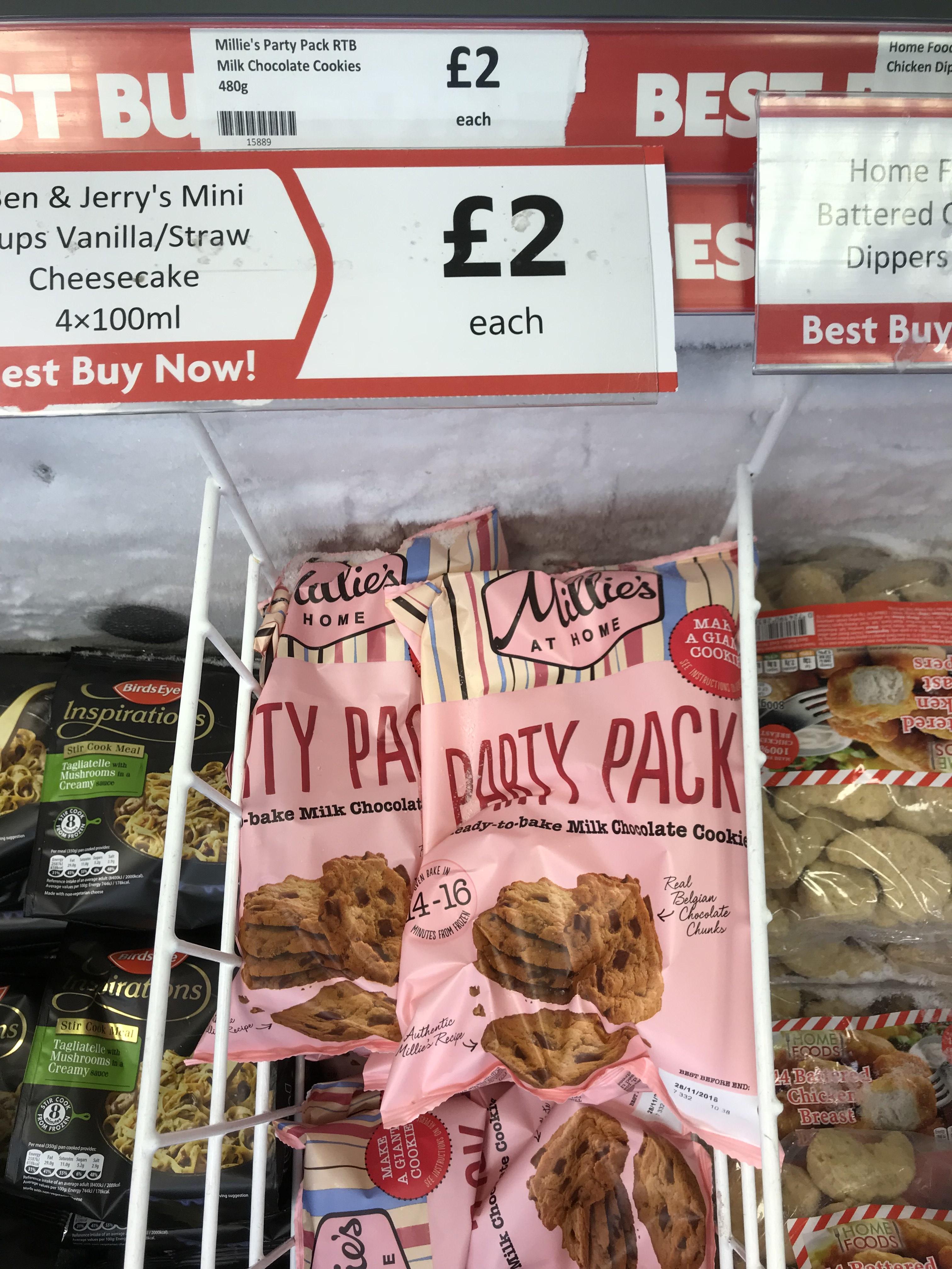 Millie's party pack cookies £2 @ Heron