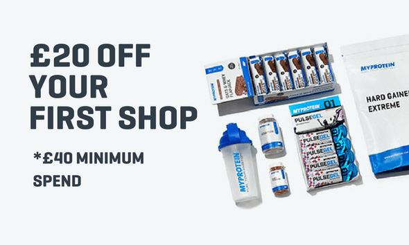 £20 off £40 spend at Myprotein plus free £15 amazon voucher via voucher codes