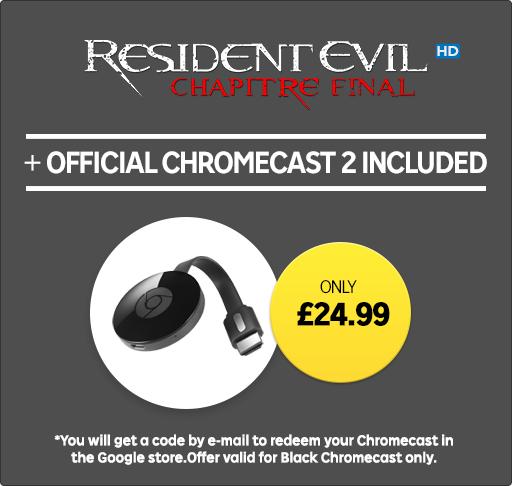 Google Chromecast + Resident Evil: The Final Chapter HD Rental - £24.99 @ Rakuten