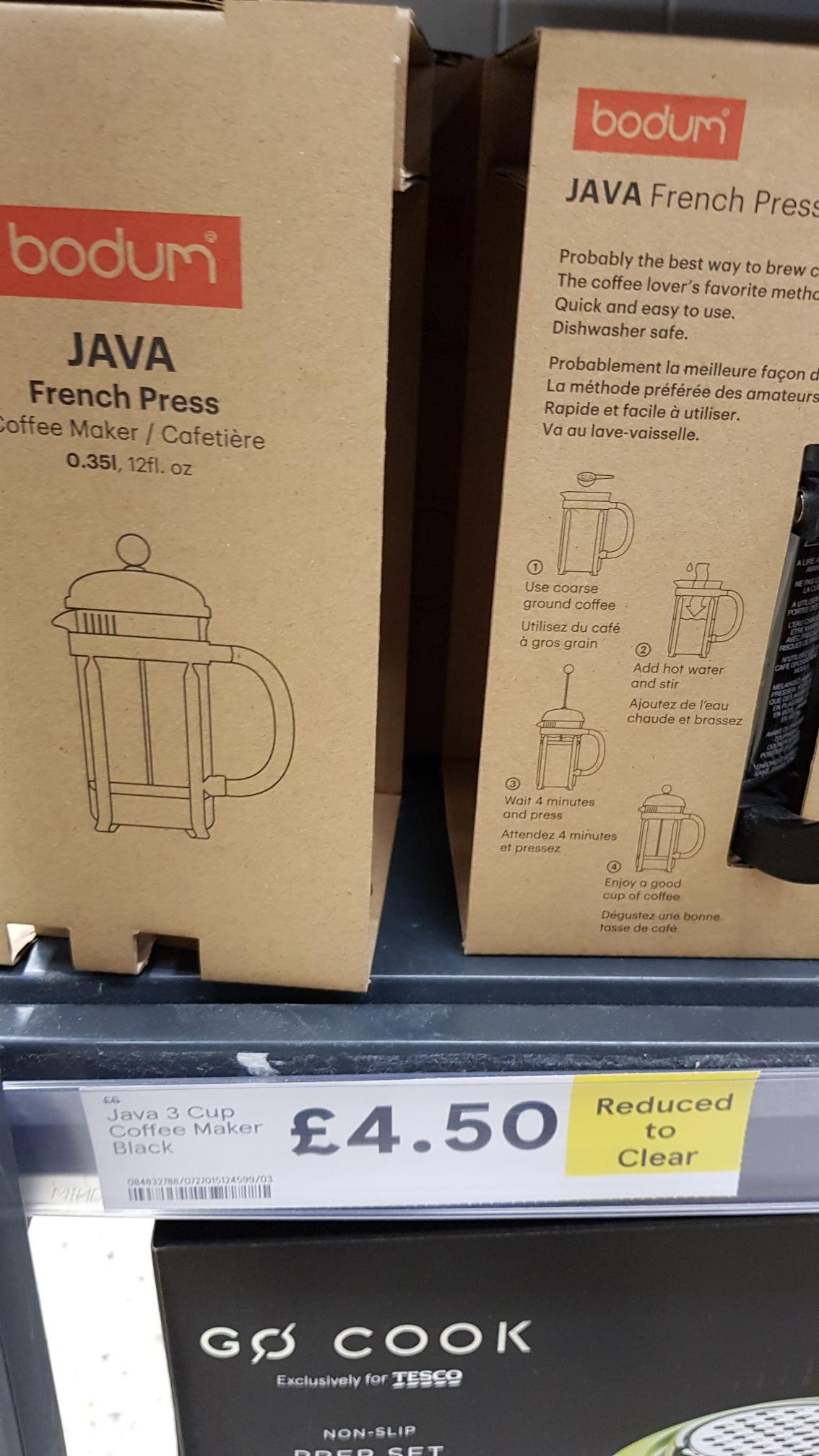 Bodum 3 cup Coffee Caffettier £4.50 @ Tesco Cradley
