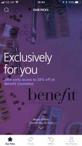Early access to 20% off at Benefit Cosmetics with O2 Priority