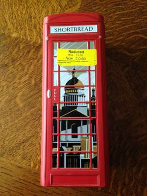 M&S telephone box tin containing mini shortbread rounds. Reduced to £0.60 from £6.00 in Cannock store. also Royal baby shortbread tin £2.50 (was £6) available in store and online.