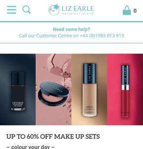 Up to 60% off make up sets @ Liz Earle (£3.75 P&P or free on orders over £50)