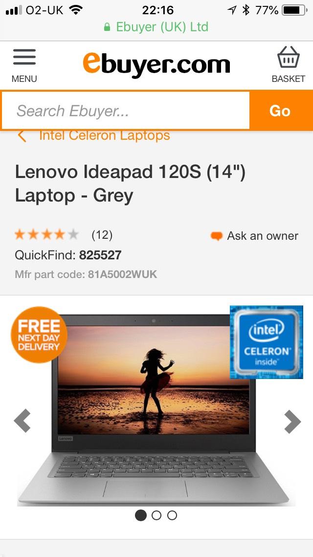 "Lenovo Ideapad 120S (14"") Laptop - £179.99 @ Ebuyer"