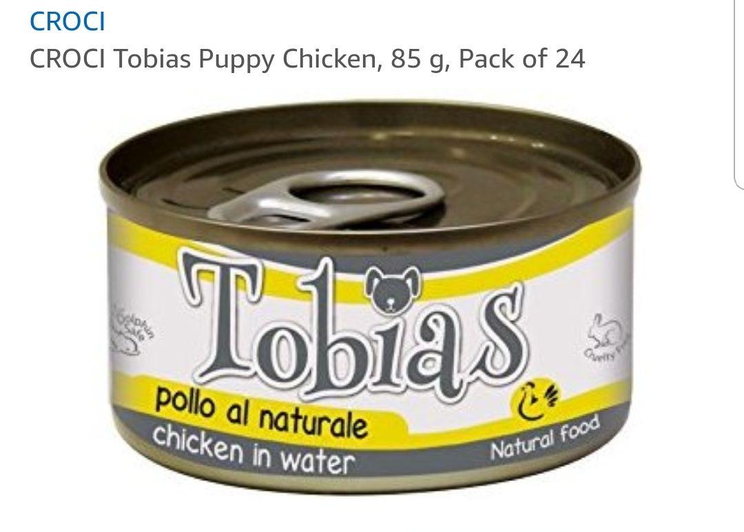 Croci Tobias puppy food 24 tins chicken. 98p Amazon add on item / minimum spend £20