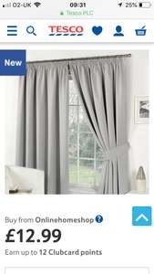 Blackout curtains £12.99  @ Tesco Direct - sold by Onlinehomeshop