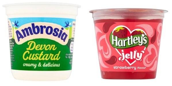 Ambrosia Custard Pots/Hartley's Strawberry Jelly Pots 5 for £1 @ Heron