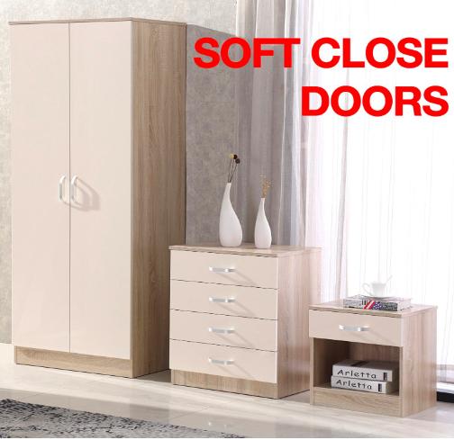 Cream/Oak High Gloss 3 Piece Bedroom Furniture Set - Wardrobe Chest Bedside £139.95 @ Fairpak Ebay