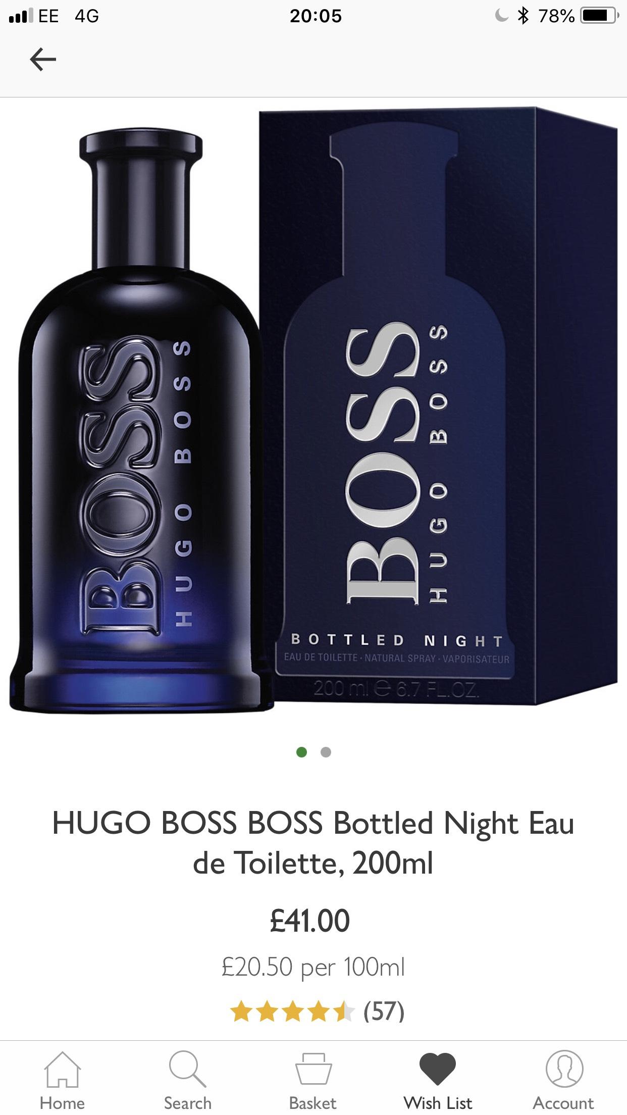 Hugo Boss Bottled Night 200ml - £41 (free C&C) @ John Lewis