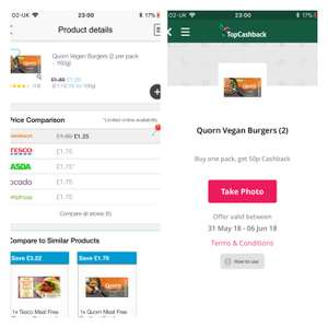 Quorn vegan burgers, £1.25 at Sainsbury's, 50p cashback from topcashback, so 75p after cashback