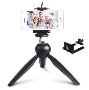 Premium Mini Tripod with Phone Mount Table Top Stand for Gopro Smartphones Compact Cameras and DSLRs - £1.88 w/code @ RoseGal