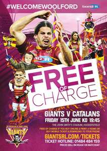 Free rugby league game - Huddersfield giants v catalan dragons