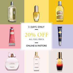 20% off full price L'Occitane products
