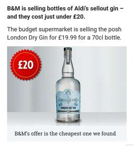 70cl gin lane 1751 £19.99 @ b&m - likely store specific