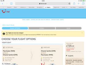 Orlando flight only 12th June Manchester to Sanford with Tui family of 4  £720!!