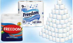 Freedom 3ply 45 Rolls of White Toilet Paper and 24 Rolls 2ply Kitchen Towels £20.97 delivered @ Groupon
