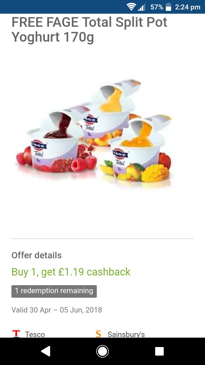 Free Fage split pot yogurt + 69p profit 50p at Tesco via Clicksnap