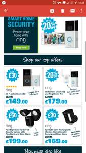 Robert Dyas great offers on home security products - e.g Ring Wi-Fi Video Doorbell 2 £149