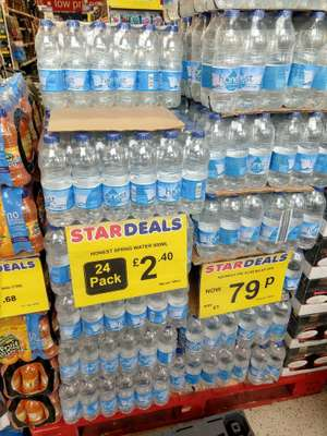 24 bottles of H2onest spring water (500ml) for £2.40 & 6 pack for £0.79 @ Poundstretcher