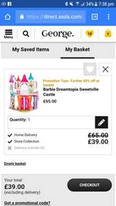 Extra 40% off ASDA sale selected toys once added to basket (free C&C)