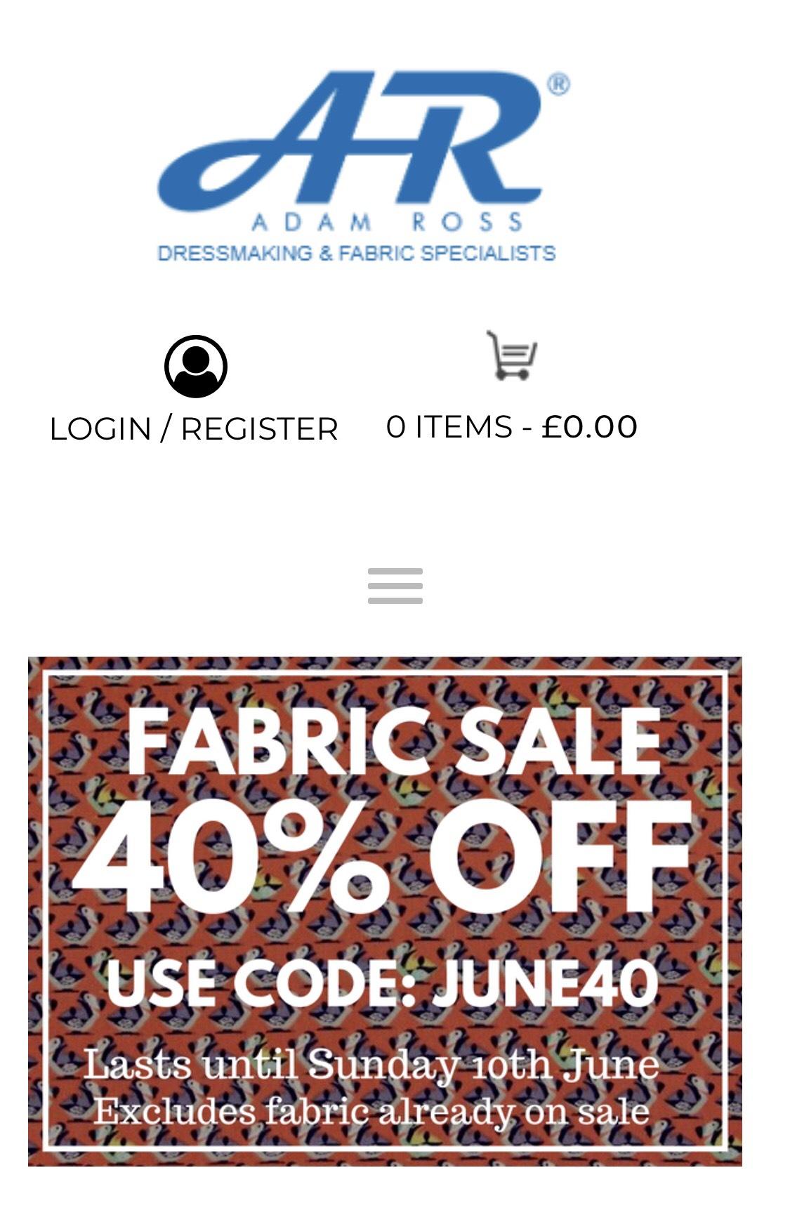 40% off voucher code - Adam Ross Fabrics