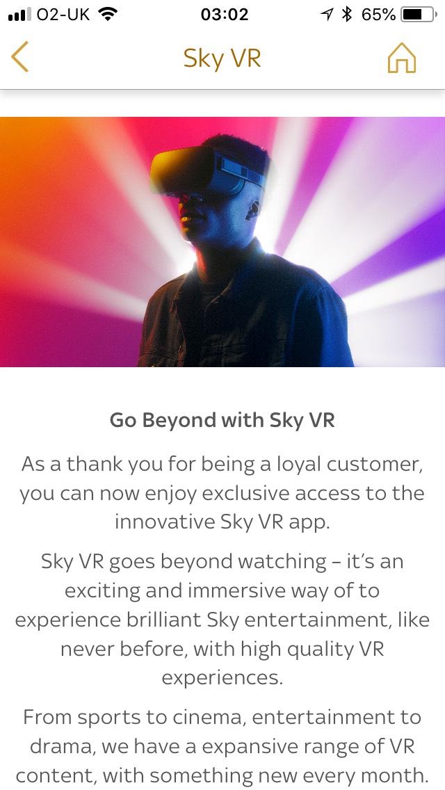 SKY Virtual Reality free app