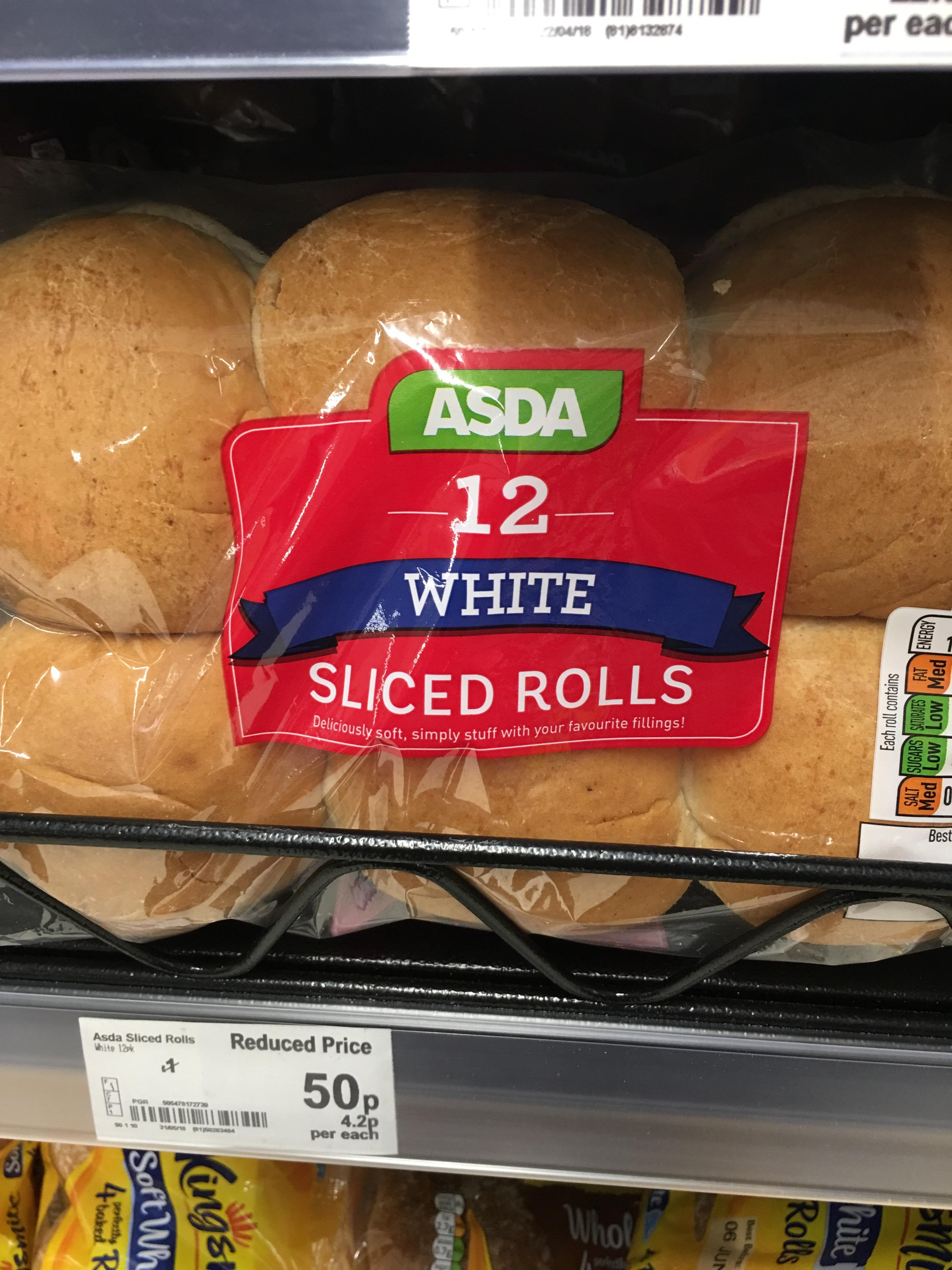 [Reduced Price] Sliced Rolls Pack x 12 50p instore at Asda Ruislip