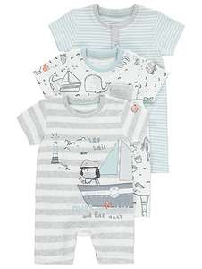 X3 nautical themed summer rompers - all sizes upto 12 months now £6 @ Asda C+C