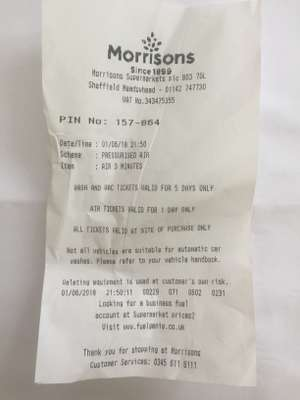 Free Air pump code @ Morrisons' petrol stations with £15 +spend