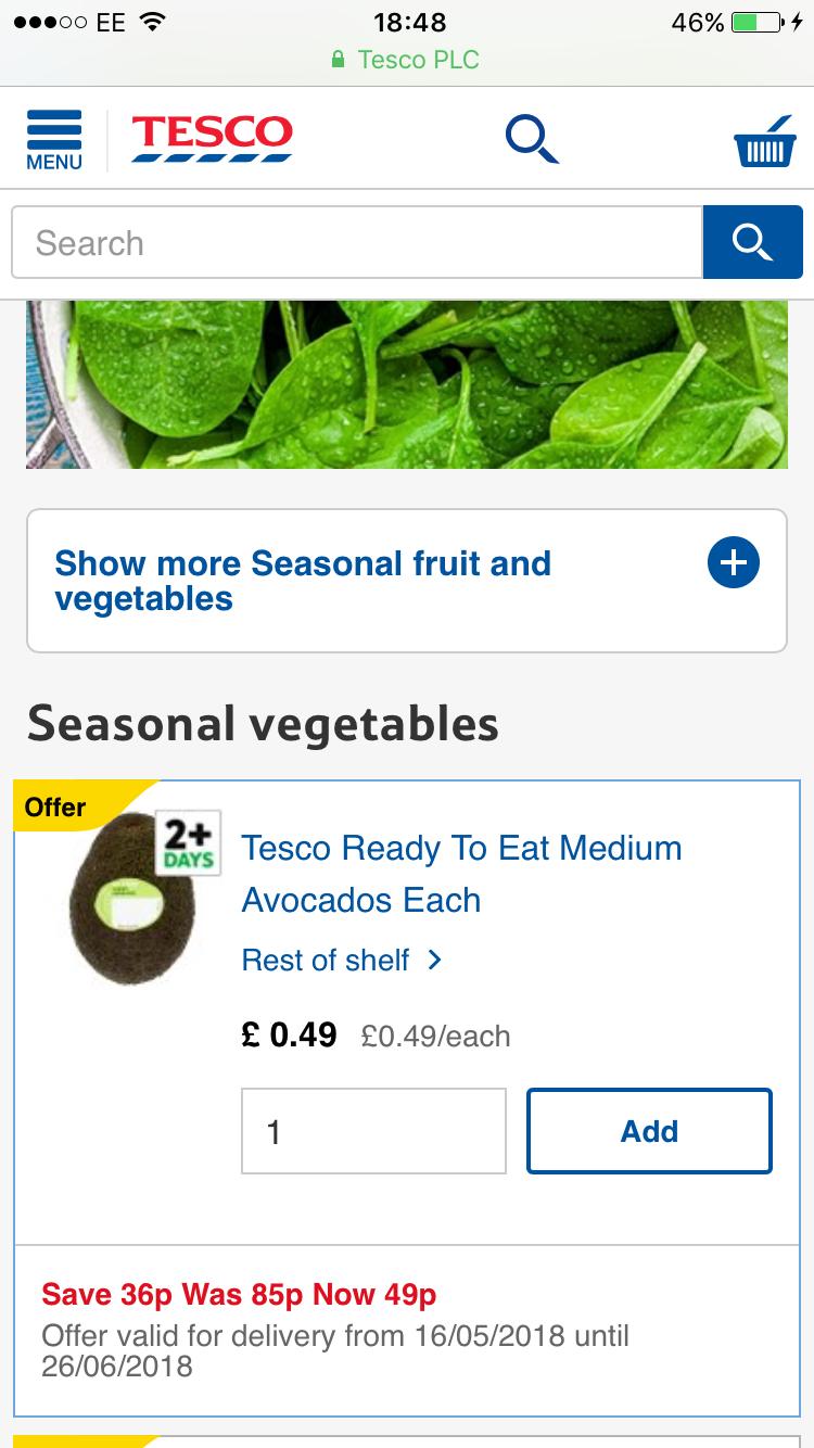 Tesco Ready to eat Medium Avocado 49p also 2pack Little Gem Lettuce 49p @ Tesco