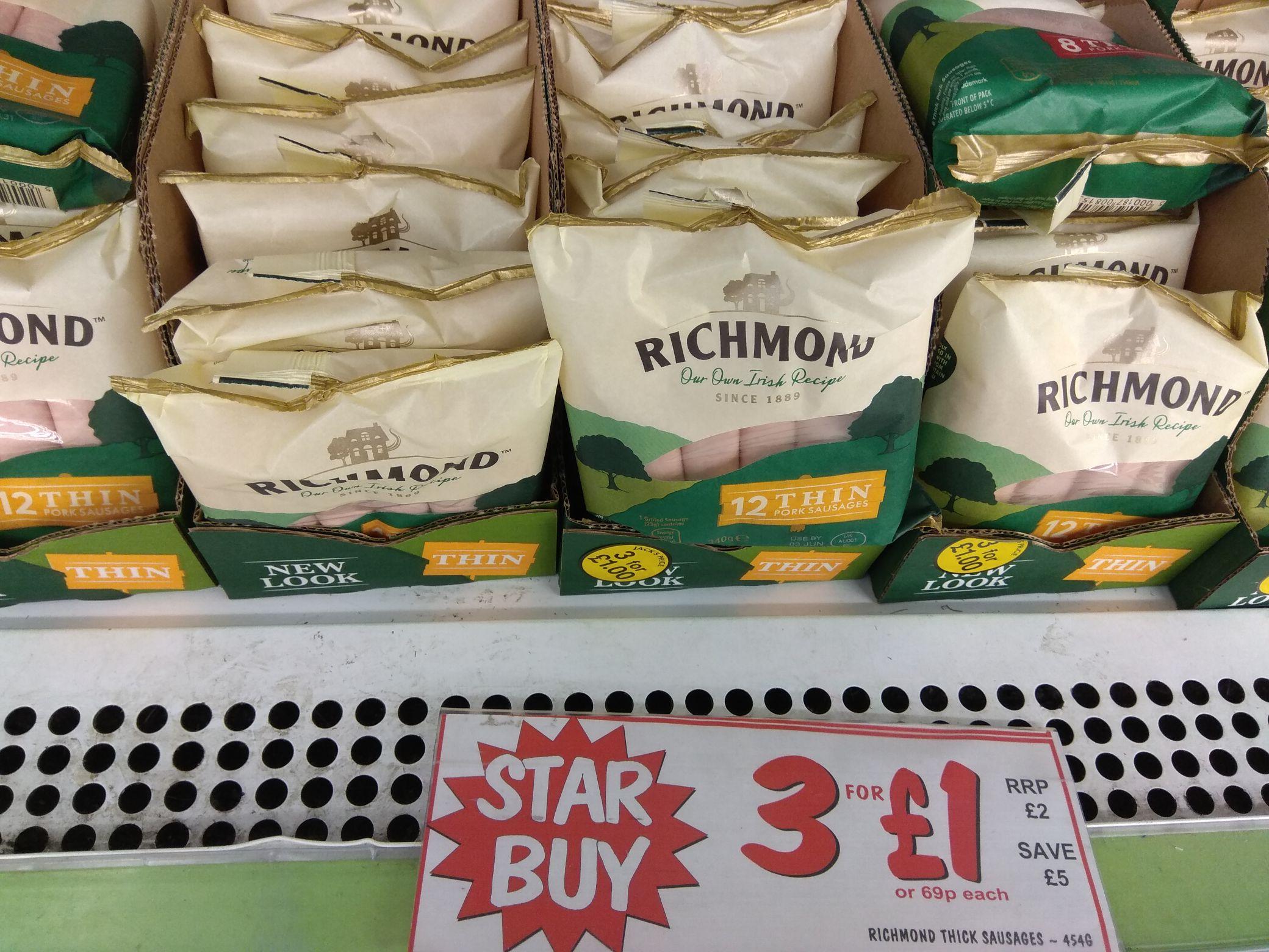 3 x Richmond Thin Sausages (12 packs) 454g - £1 @ Fulton Foods