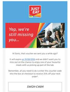 Just eat voucher 25%off  exp 10/06/2018