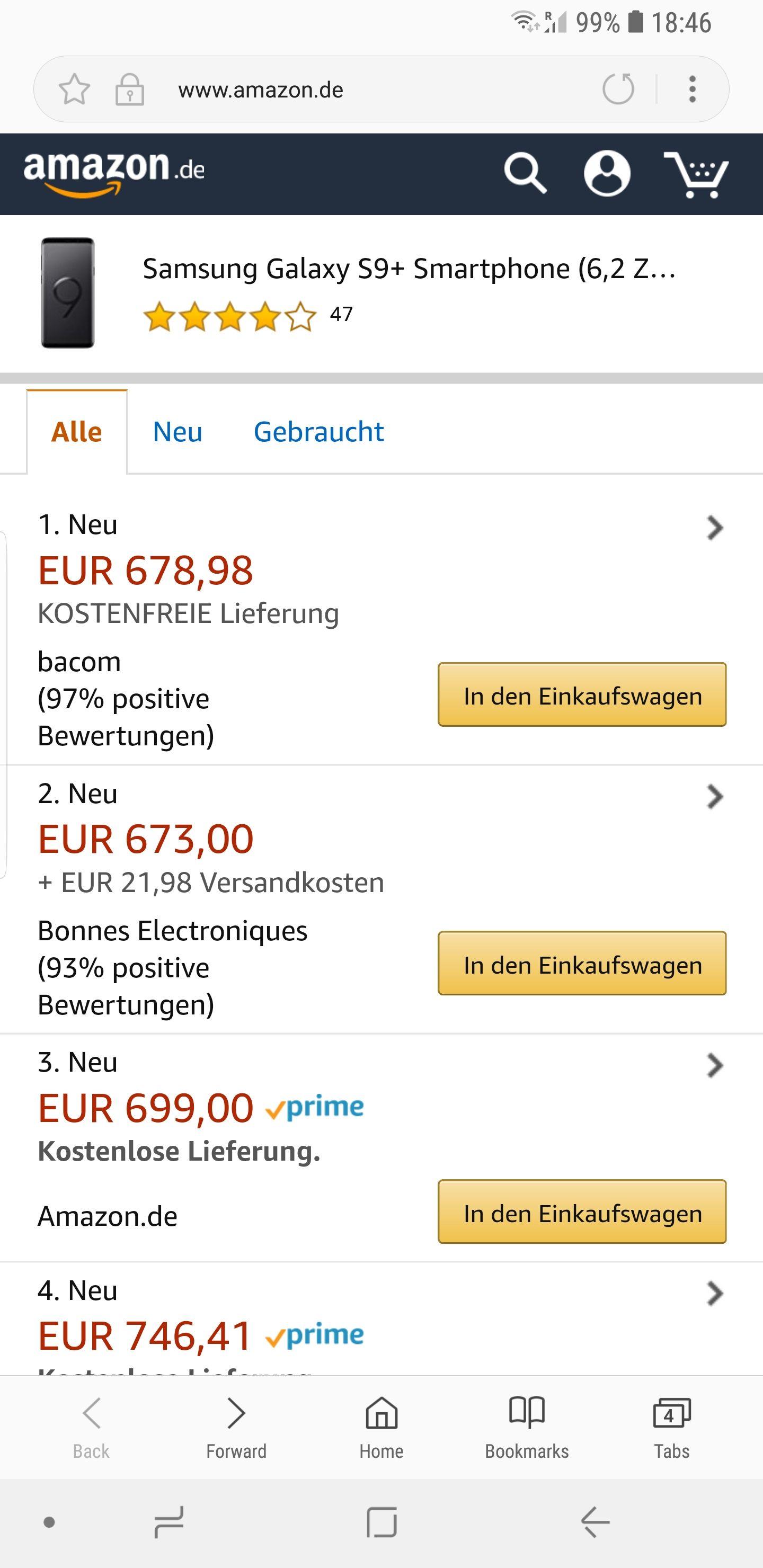 Samsung galaxy S9 plus, dual sim, 64GB at Amazon Germany for £614