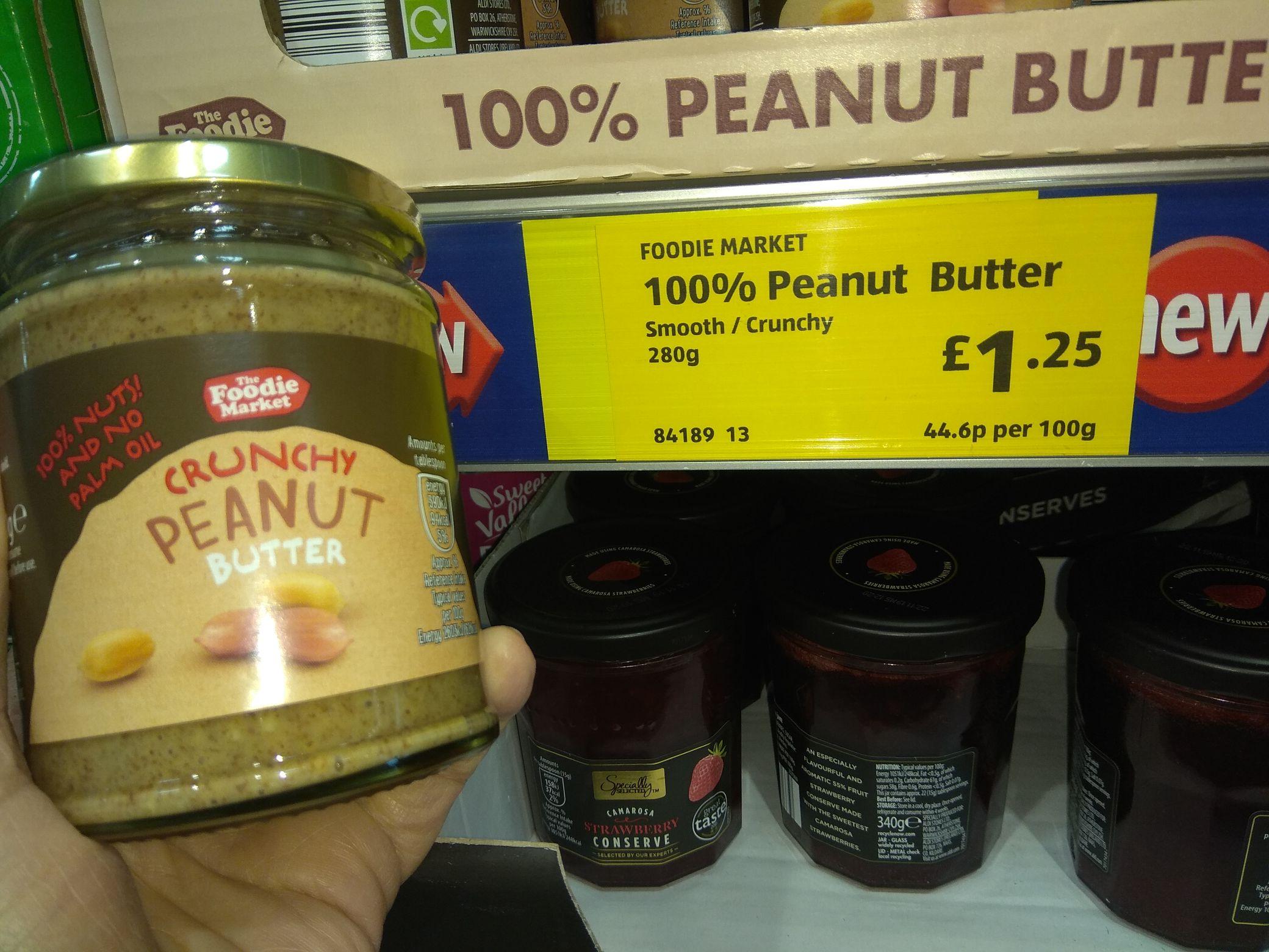 Aldi 100% peanut butter - £1.25 instore