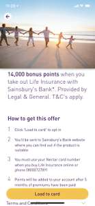14000 nectar points (worth £70) when you get life insurance from sainsbury's (legal&general) minimum payment £5/month