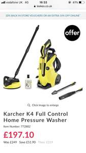 Karcher k4 full control pressure washer £197.10 delivered @ Leeks