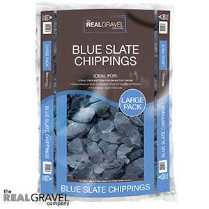 Kelkay real gravel company= 20kg blue slate \ cotswold stone \ tweed pebbles\  chippings, now £2.75 @ Home & Bargain
