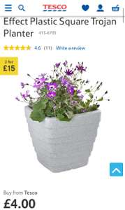 Tesco - 50% off Pots, Planters & Hanging Baskets - sold by Tesco