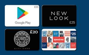 20% off Gift Cards -  Google Play - Pizza Express -  Gap - New Look  @ Tesco online and instore