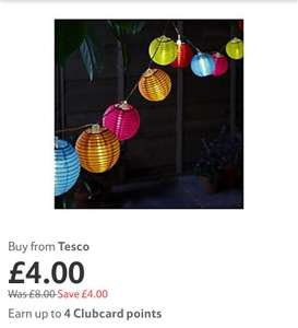 Solar lighting half price at Tesco direct e.g Tesco 10 Multi Coloured Lantern Solar Lights £4 Free c&c