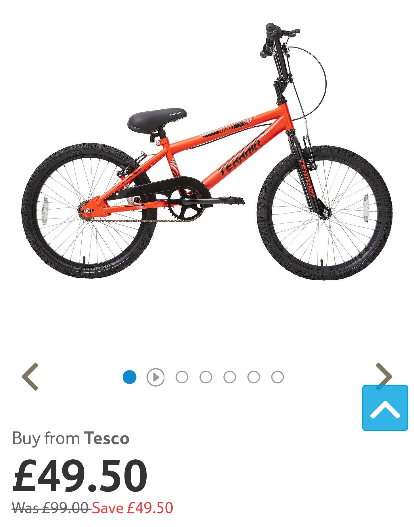Tesco 20 inch wheel BMX style bike was £99 now half price £49.50