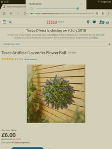 Tesco Direct Half Price Artificial Flower Lavender Ball £6 Free delivery to store