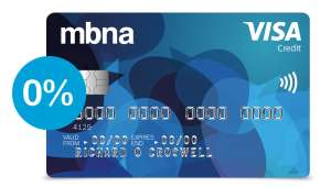 MBNA credit card: 0% on purchases, balance transfers and money transfers for 30 months