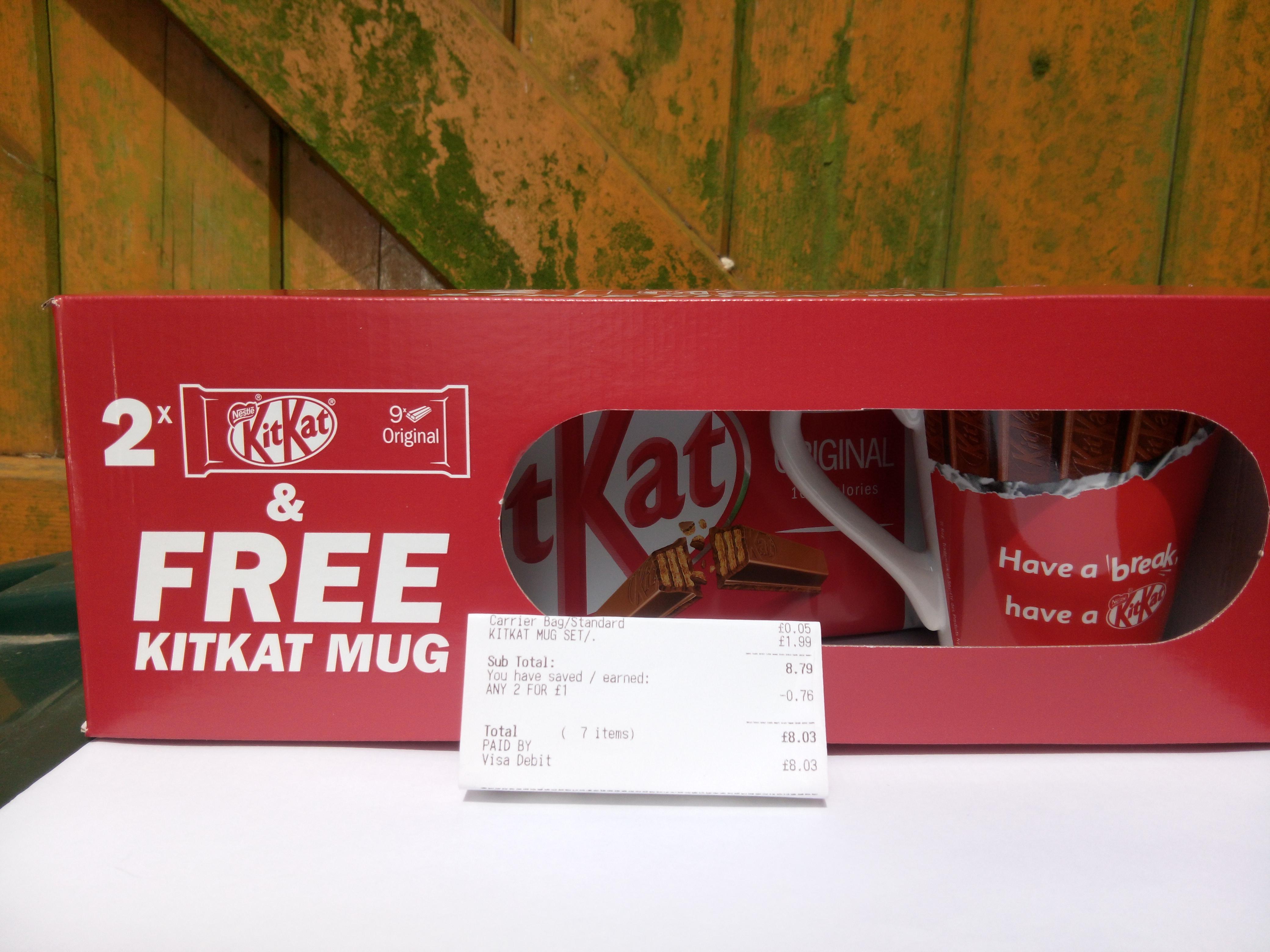 2 x 9 pack of Kit Kat Fingers and a Free KiKat Mug, Just £1.99 at B&M