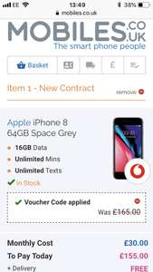 iPhone 8 64gb £30 p/m 24 months Vodafone 16BG data / unlimited mins & texts £165 upfront £885 @ Mobiles.co.uk