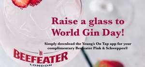 Free glass of Beefeater pink gin and tonic on World Gin day 9th June in London and South East @ Youngs pubs